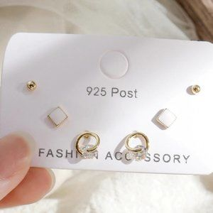 [3 Pairs] 925 Sterling Silver Diamond Earrings C